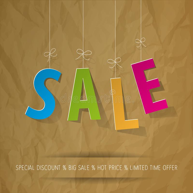 SALE letters colorful on a crumpled paper brown background. royalty free illustration