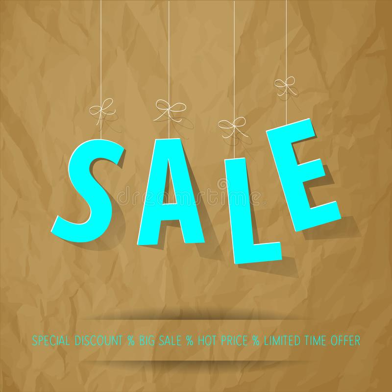SALE letters mint on a crumpled paper brown background. royalty free illustration