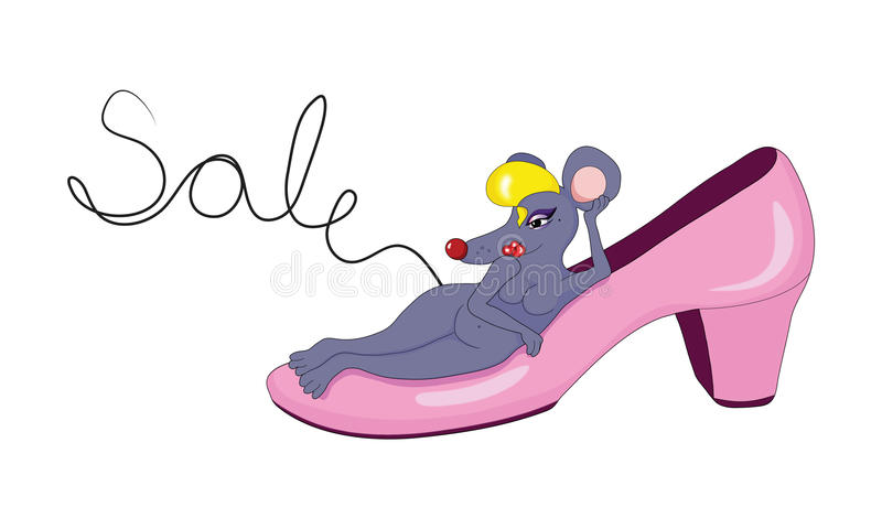 Sale logo. With a funny mouse royalty free illustration
