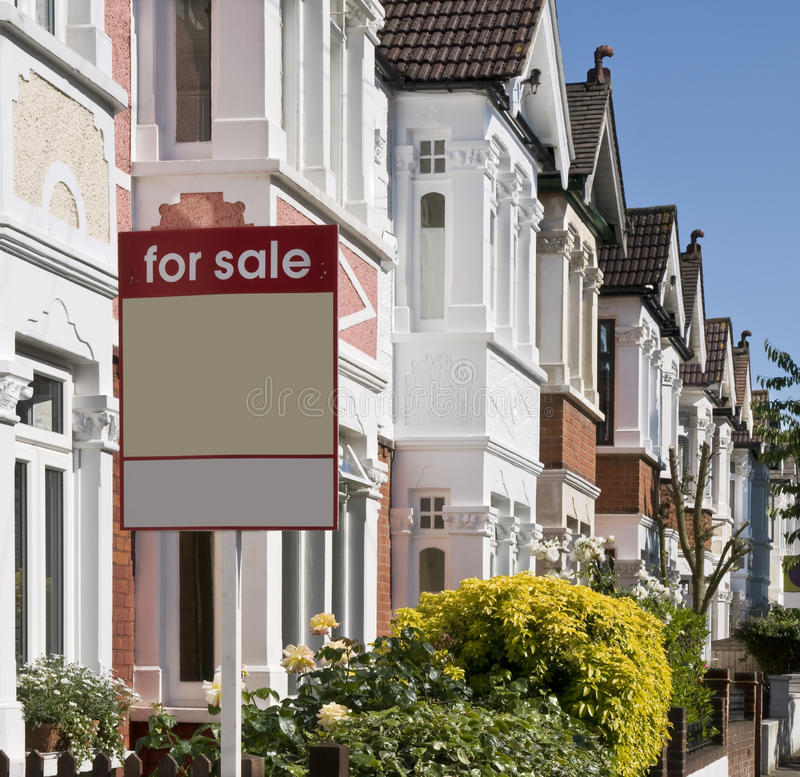 For Sale at London. Property For Sale - Real Estate Agent. Cosy terraced houses at West-London stock photography