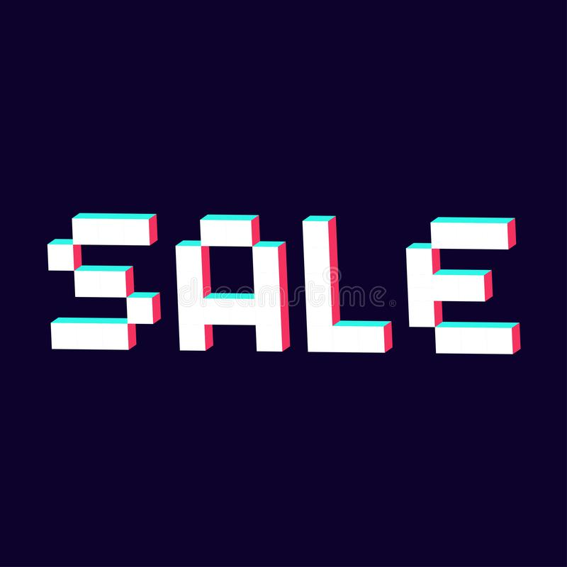 Sale made with pixel 3d digital font vector illustration