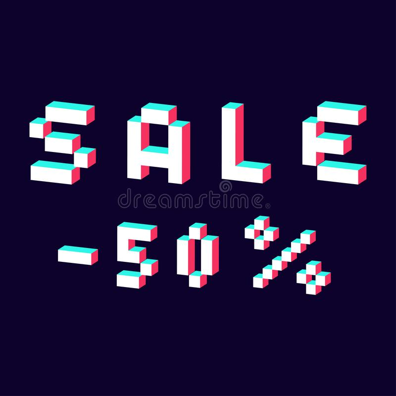 Sale made with pixel 3d digital font royalty free illustration