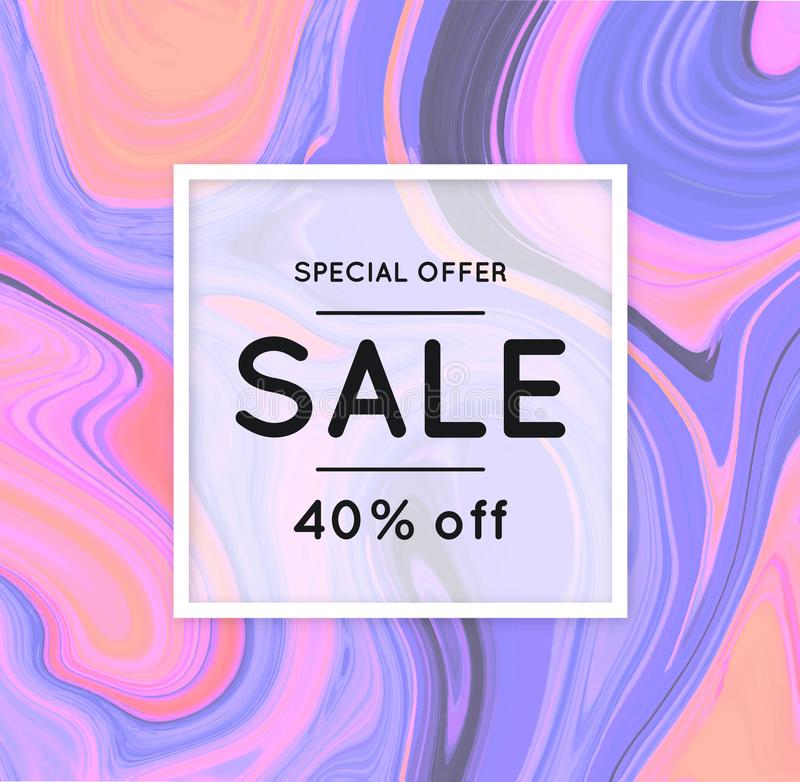 Sale. Marbling. Marble texture. Discount. Vector abstract colorful background. Paint splash. Colorful fluid. Shopping stock illustration