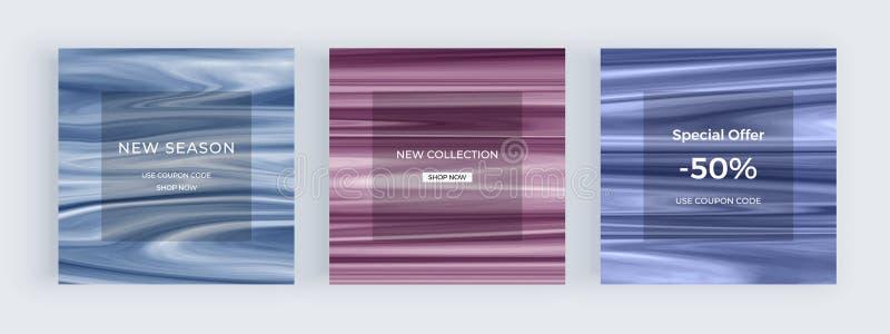 Sale marmorerar det sociala massmediabanret med flytande textur Färgpulver som målar abstrakta bakgrunder Moderiktig mall för rek royaltyfri illustrationer