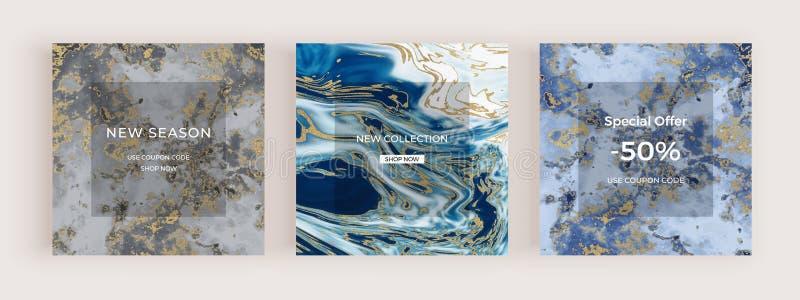 Sale marmorerar det sociala massmediabanret med flytande textur Guld- blänka abstrakta bakgrunder för färgpulvermålning Moderikti stock illustrationer