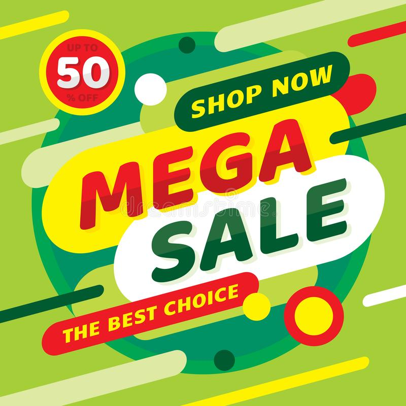 Sale mega discount up to 50% off. Concept promotion banner. Green color. Advertising poster. vector illustration