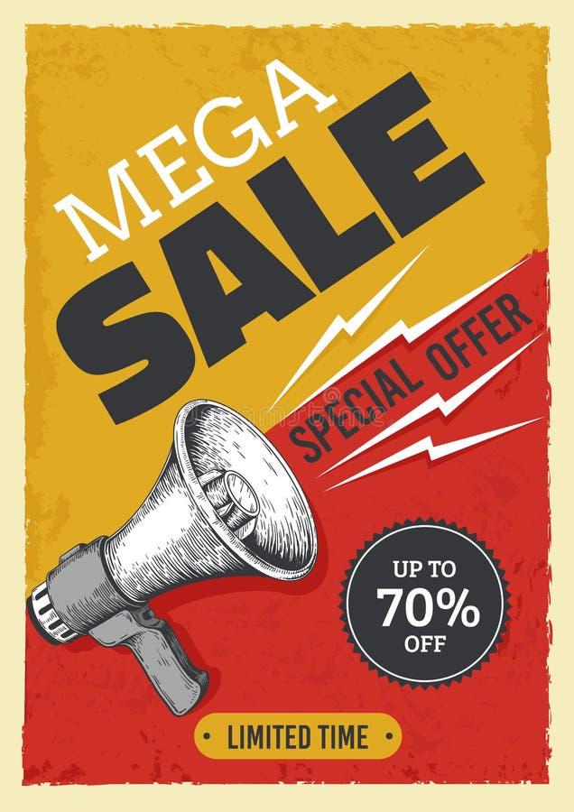 Sale megaphone poster. Vintage bullhorn with sale banner, news and ads grunge flyer concept. Vector alert and attention. Sale megaphone poster. Vintage bullhorn vector illustration