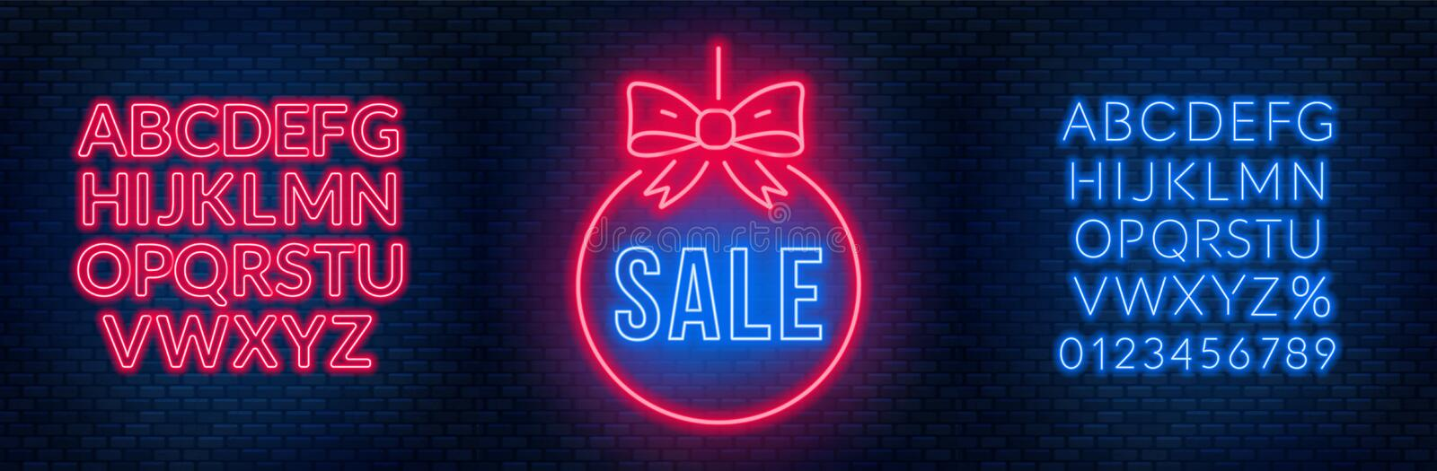 Sale neon sign and fonts on a dark background. Template discounts and offers. vector illustration