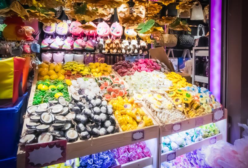 Sale of objects of arts and crafts in souvenir shops in Terminal 21 Department Store. At Asoke Montri intersection Sukhumvit road Bangkok Thailand, April 17 stock image