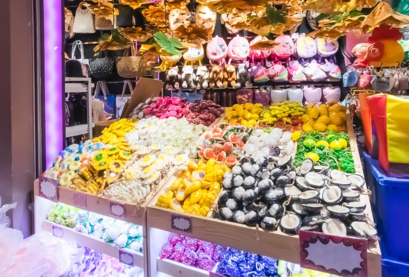 Sale of objects of arts and crafts in souvenir shops in Terminal 21 Department Store. At Asoke Montri intersection Sukhumvit road Bangkok Thailand, April 17 stock images
