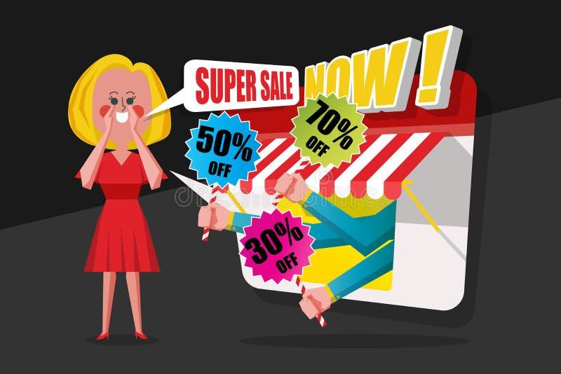 Sale och shoppingbegreppet, damer ber den röda klänningen som ropas till cust royaltyfri bild