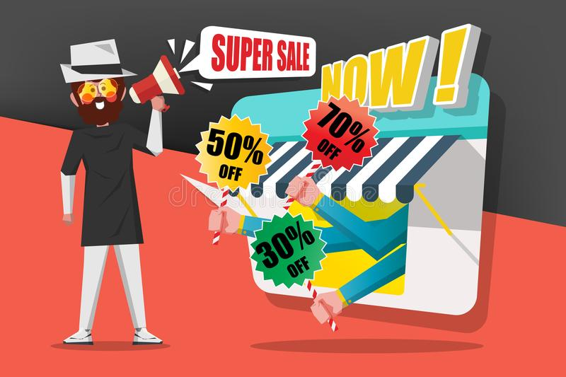 Sale och shoppingbegreppet, gentlemän använder appellmegafonen till c royaltyfri foto