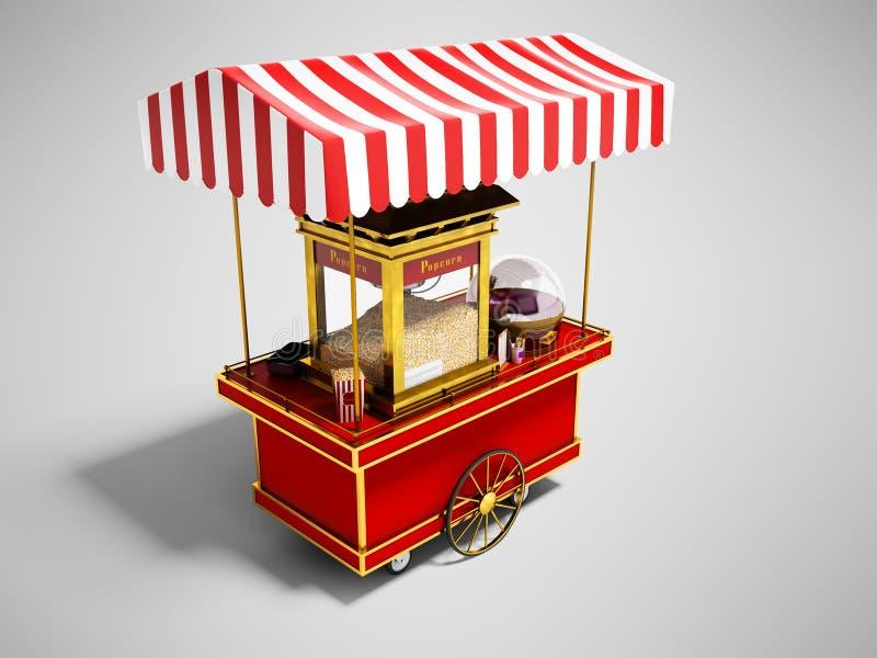Sale och skapelse av popcorn i rött tält på hjul 3d att framföra på grå bakgrund med skugga vektor illustrationer