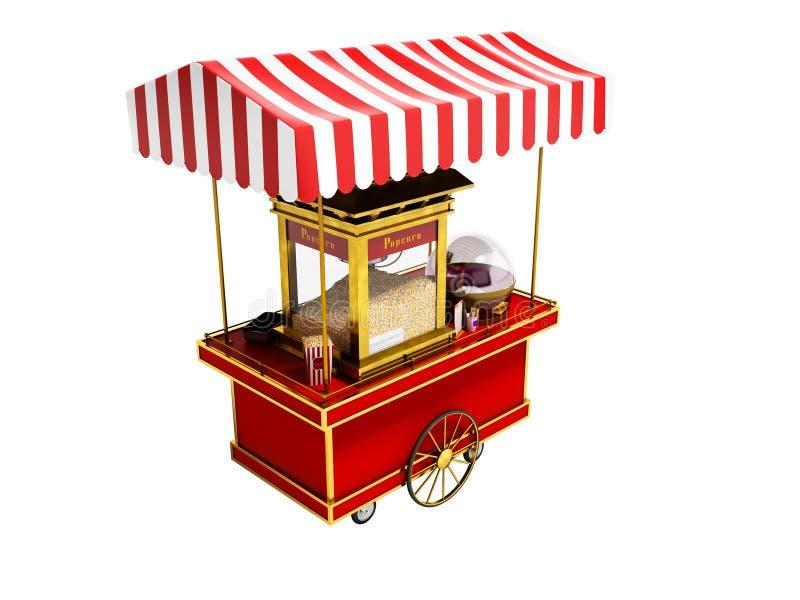 Sale och skapelse av popcorn i rött tält på hjul 3d att framföra på vit bakgrund ingen skugga vektor illustrationer