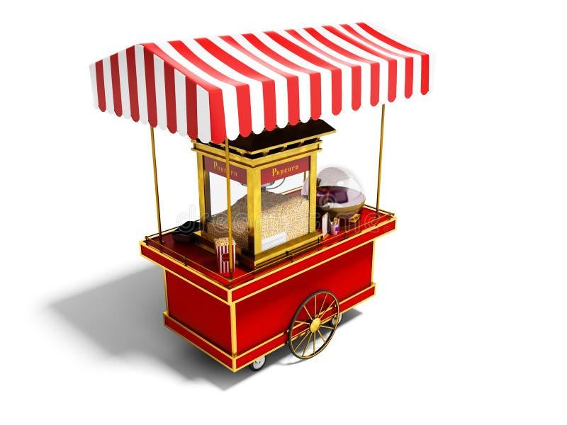 Sale och skapelse av popcorn i rött tält på hjul 3d att framföra på vit bakgrund med skugga royaltyfri illustrationer