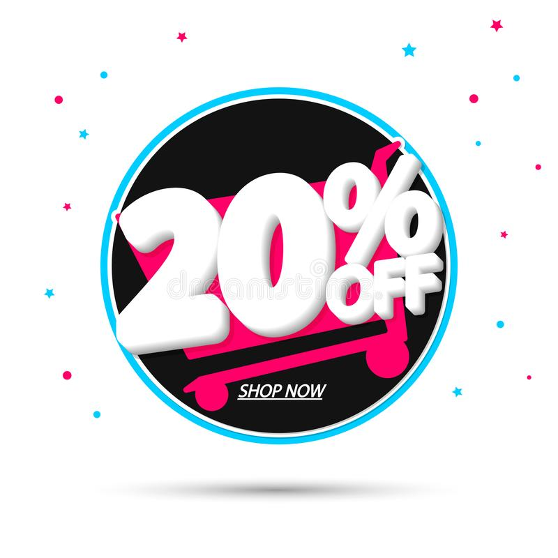 Sale 20% off, discount banner design template, extra promo tag, vector illustration royalty free illustration