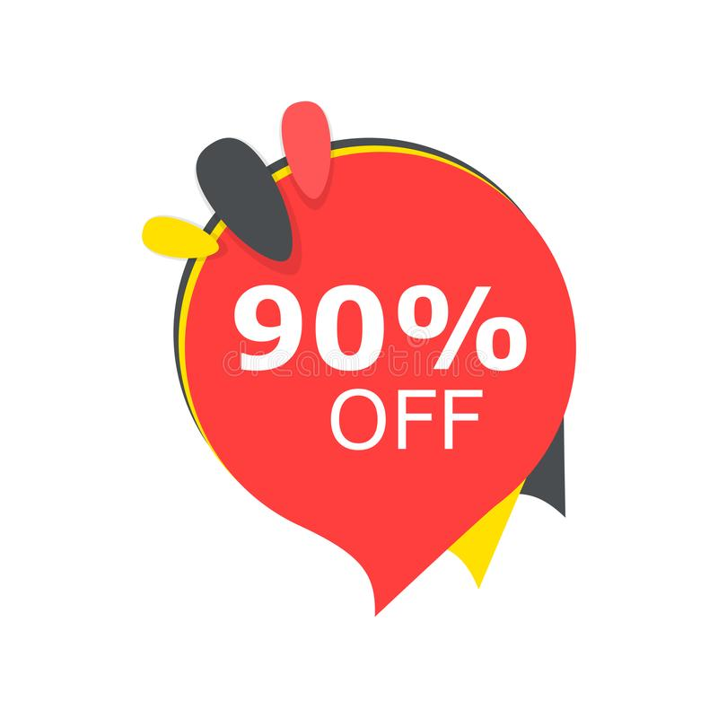 Sale 90% off discount price tag icon. Vector illustration. Business concept price discount pictogram. vector illustration