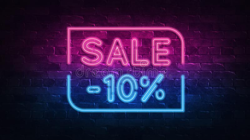 Sale 10% off neon sign. purple and blue glow. neon text. Brick wall lit by neon lamps. Night lighting on the wall. 3d illustration. Trendy Design. light banner stock illustration
