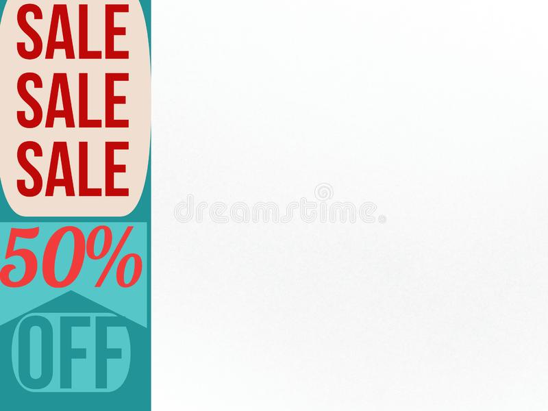 Sale sale sale 50% off for one day banner. Sale 50 off one day banner sell buy purchase shopping diacount royalty free illustration