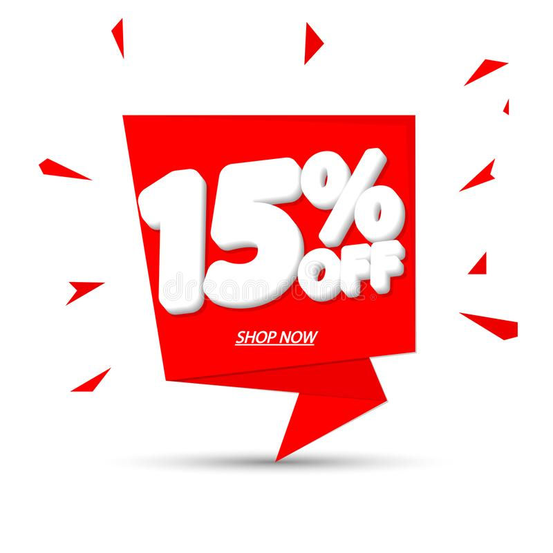 Sale 15% off tag, speech bubble banner design template, discount tag, app icon, vector illustration stock illustration