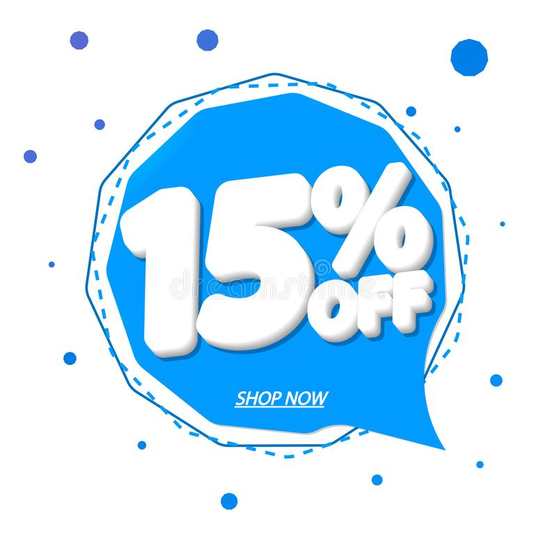 Sale 15% off tag, speech bubble banner design template, discount tag, app icon, vector illustration royalty free illustration