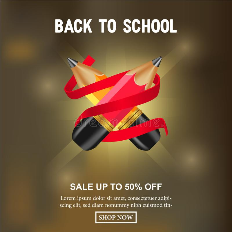 Sale offer discount cross 3D small red and yellow pencil with red ribbon vector illustration
