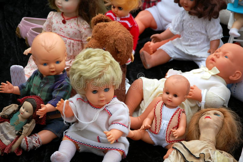 Sale of old dolls stock photography