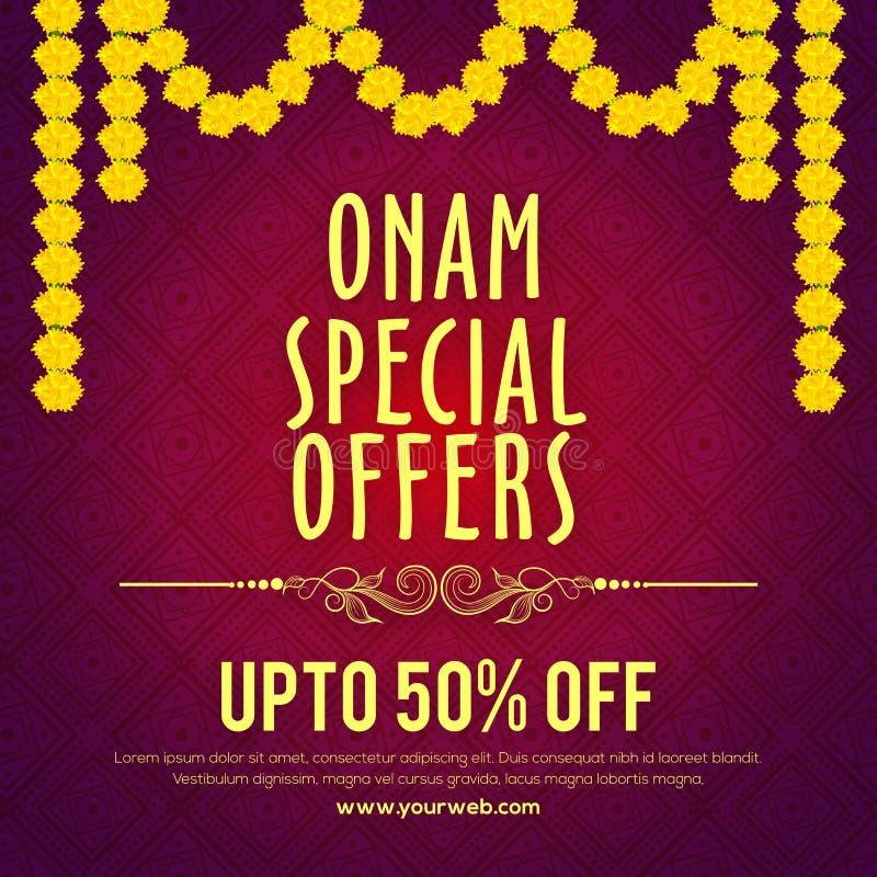Sale Onam för speciala erbjudanden affisch, banerdesign royaltyfri illustrationer