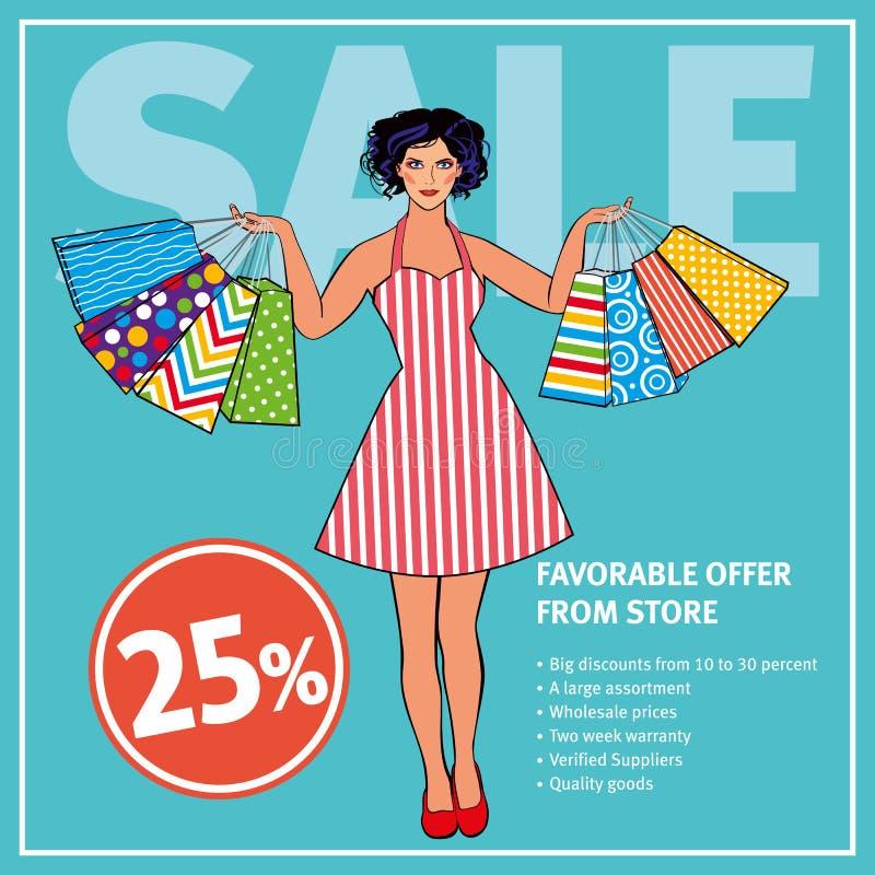 Sale orientering Härlig flicka i den retro klänningen som rymmer shoppingpåsar mot bakgrunden av mintkaramellfärg stock illustrationer