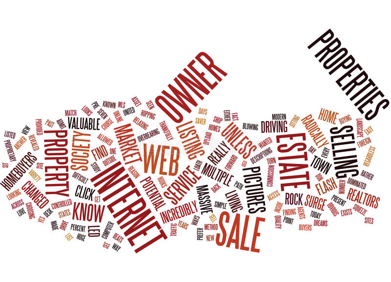 For Sale By Owner And The Web Text Background Word Cloud Concept stock illustration