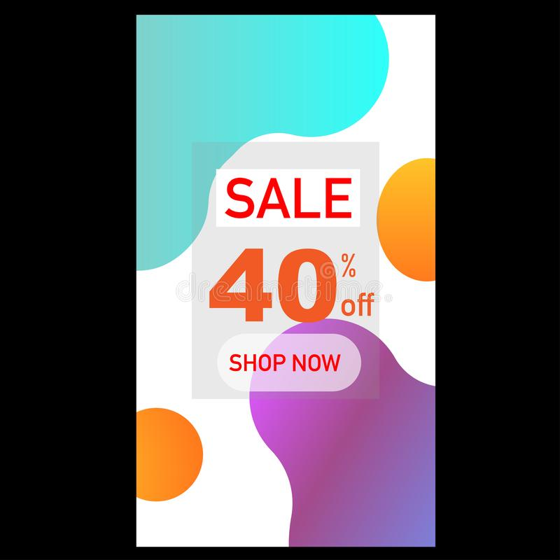 sale 40 percent off shop now abstract stock illustration