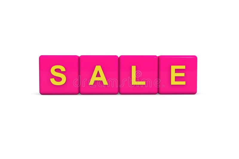 Sale with pink color block on white background, 3d illustration royalty free stock photography