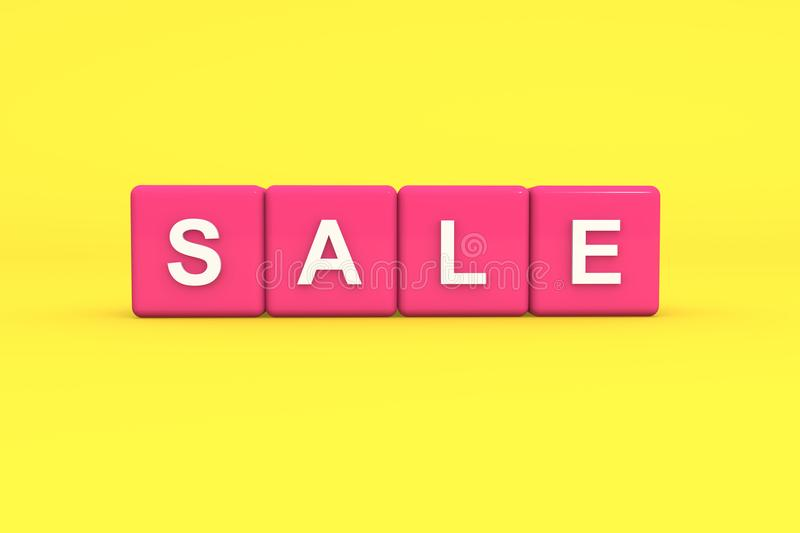 Sale with pink color block on yellow background, 3d illustration royalty free stock image