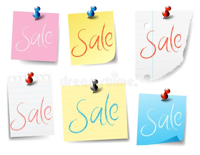 Sale Pinned, Sticky Notes, Paper Notes drawn with a realistic style vector illustration