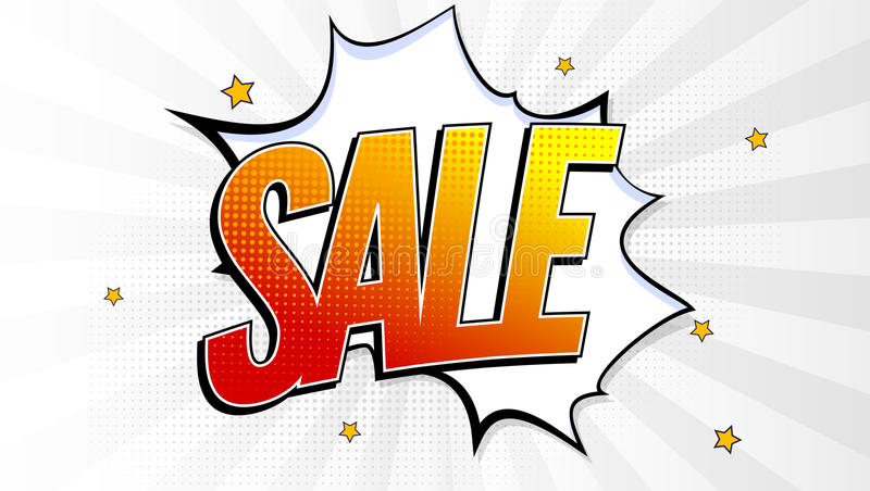 Sale pop art splash background, explosion in comics book style. Advertising signboard, price reduction, sale with royalty free illustration