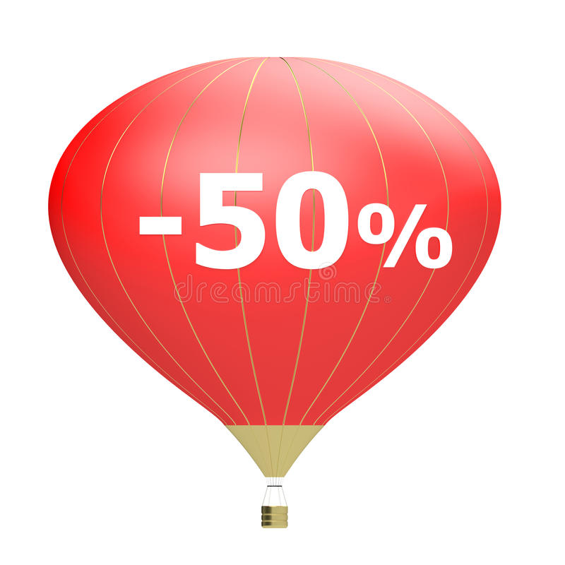 Sale poster concept with percent discount. Bright 3d illustration banner with air balloon. Design for banner, flyer and brochure. For event promotion business vector illustration