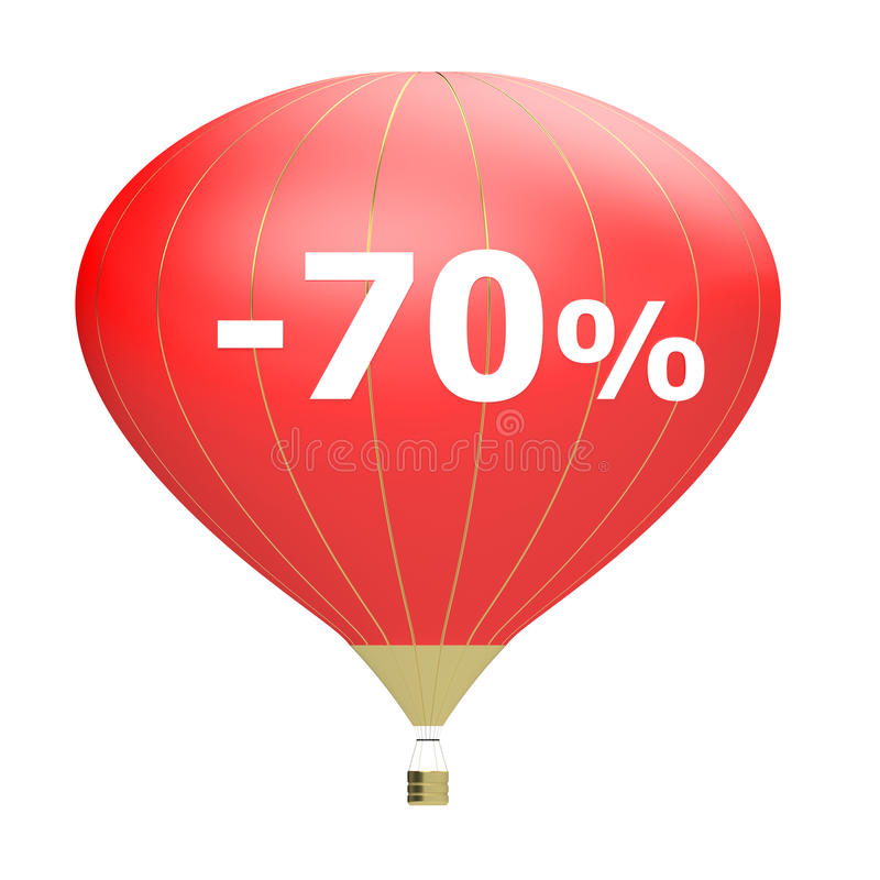 Sale poster concept with percent discount. Bright 3d illustration banner with air balloon. Design for banner, flyer and brochure. For event promotion business stock illustration