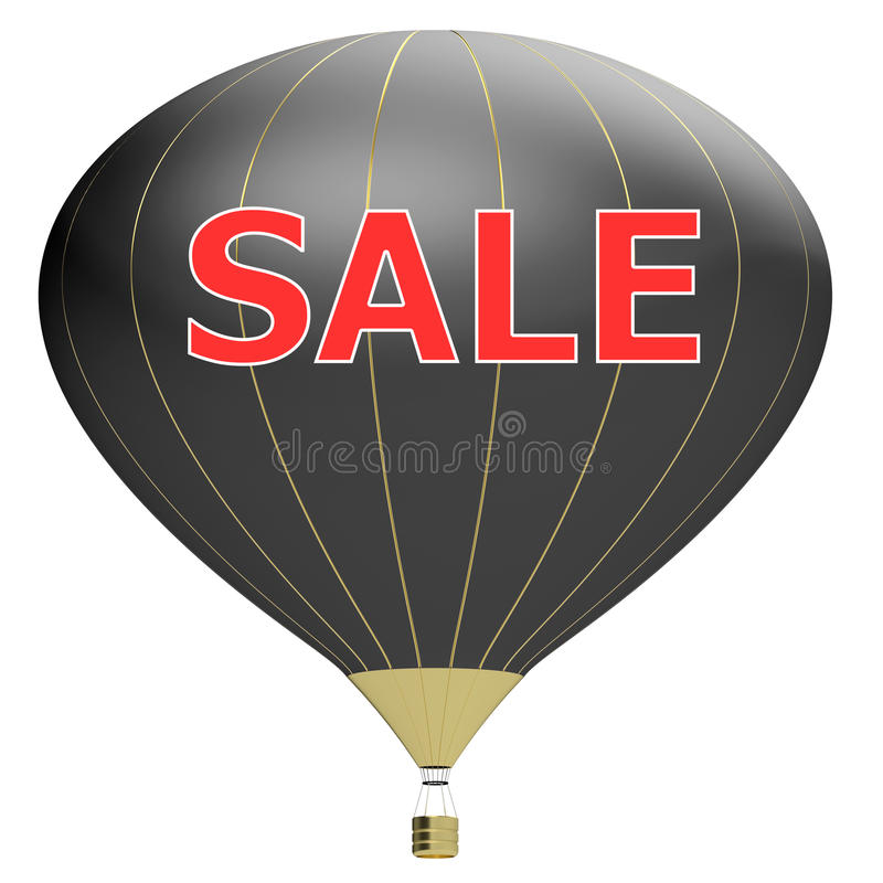 Sale poster concept with percent discount. Bright 3d illustration banner with air balloon. Design for banner, flyer and brochure. For event promotion business royalty free illustration