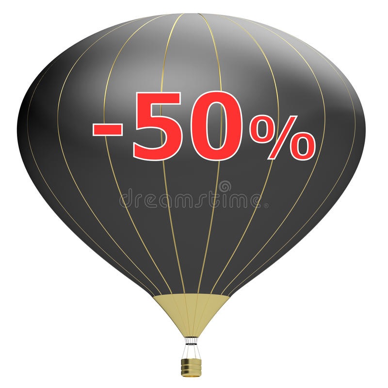 Sale poster concept with percent discount.3d illustration banner with air balloon. Design for banner, flyer and brochure for event. Promotion business or stock illustration