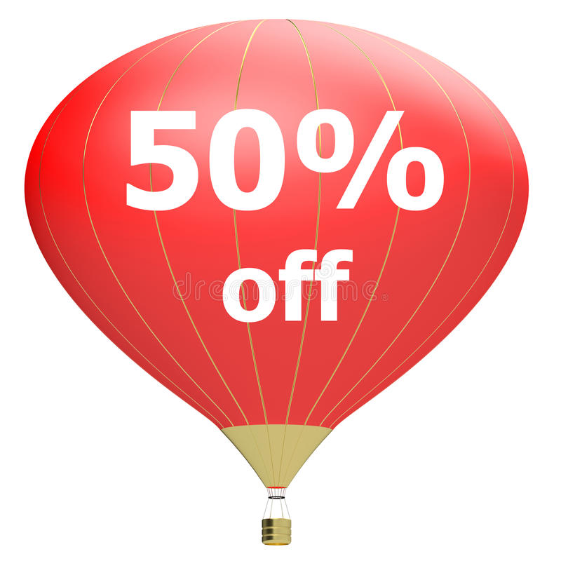 Sale poster concept with percent discount.3d illustration banner with air balloon. Design for banner, flyer and brochure for event promotion business or stock illustration