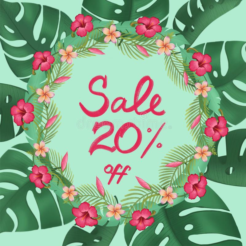Sale poster discount twenty 20 % percent off promotion banner vector illustration