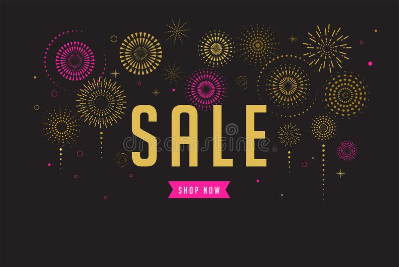Sale poster, Fireworks and celebration background. Fireworks and celebration background, sale poster and banner vector illustration