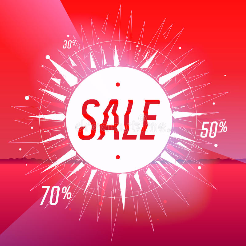 Sale poster with star on red background stock illustration