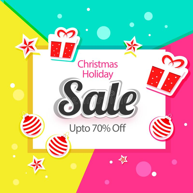 Sale poster or template design with sticker style gift boxes, baubles, stars and 70% discount offer on colorful abstract vector illustration