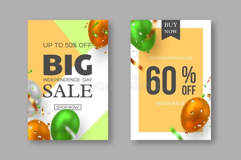 Sale posters of Indian Independence day. vector illustration