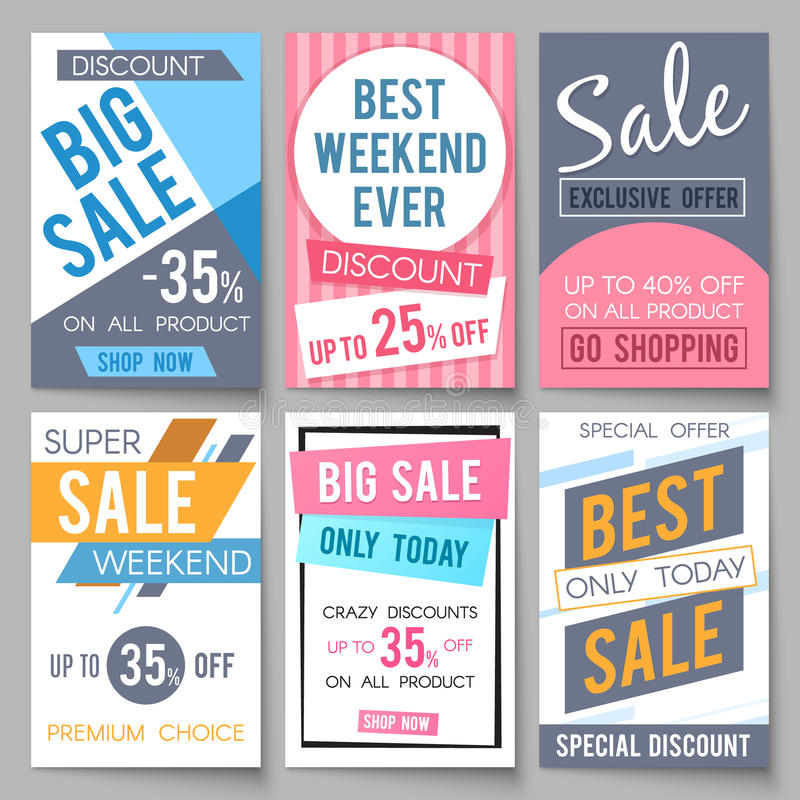 Sale posters vector template with discount and save money offers for email and newsletter design stock illustration