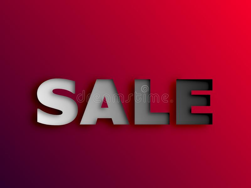 Sale price promotion sign banner white text with paper cut isolated on red background. Sale price promotion sign banner white text with paper cut isolated on stock illustration