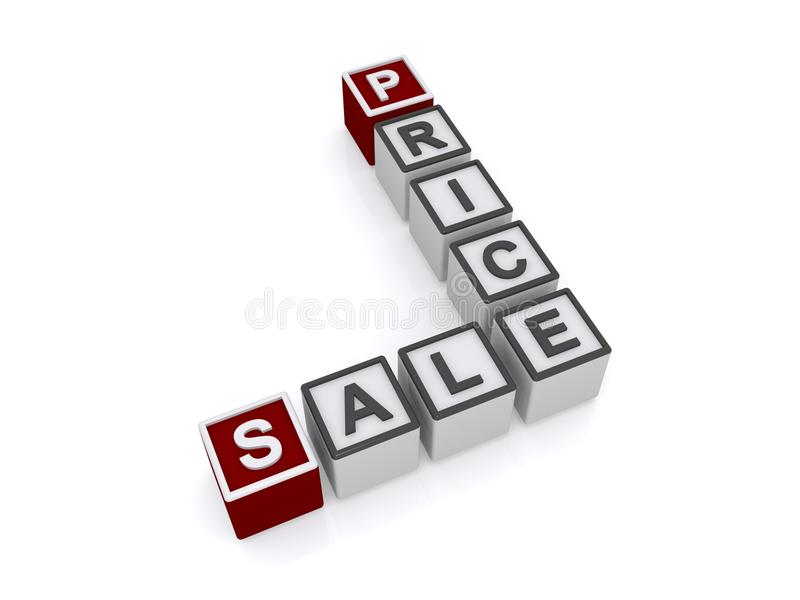 Sale price sign. 3d letter blocks in crossword puzzle shape spelling sale price, white background stock image