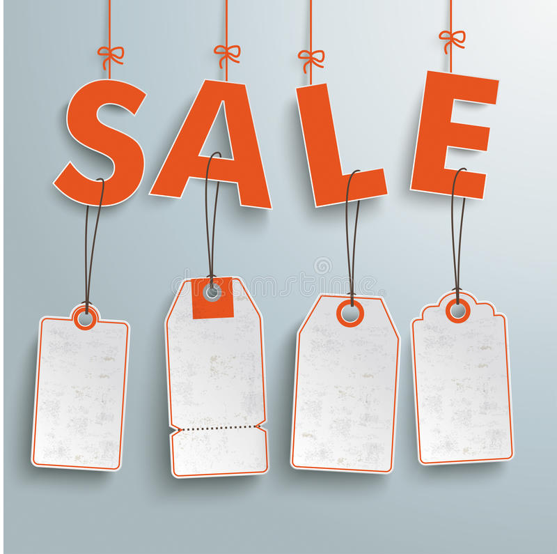 Sale 4 Price Stickers. Text Sale with price stickers on the gray background royalty free illustration