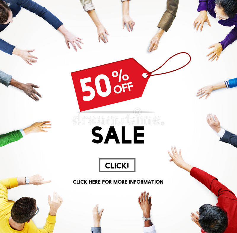 Sale Price Tag Promotion Discount Homepage Concept royalty free illustration